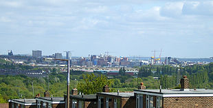 View of Leeds city centre from Bramley