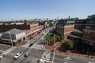 Central Square, Cambridge - Central Square, looking down Mass Ave toward Kendall Sq and the Harvard Bridge to Boston