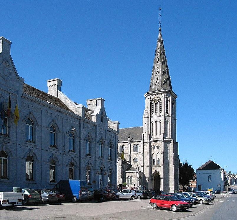 Cerfontaine, Belgium,  the St. Lambert's church (1884).