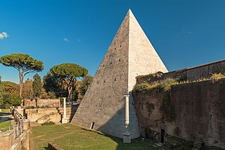 Pyramid of Cestius pyramid in Rome, Italy