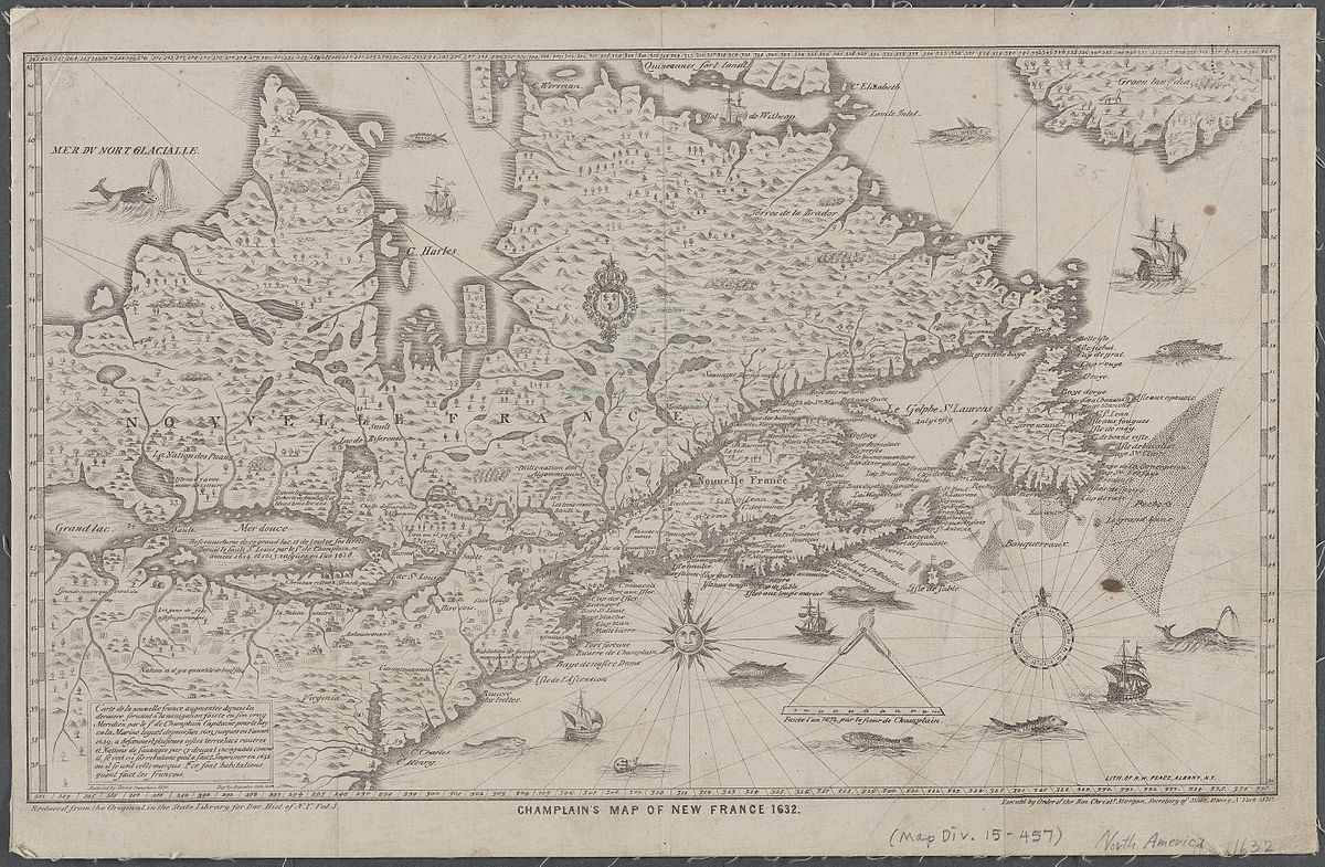 Image of: File Champlain S Map Of New France 1632 Nypl B20643233 5476419 Jpg Wikimedia Commons
