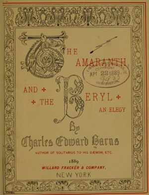 Charles Edward Barns - Title Page to The Amaranth and the Beryl, 1889.