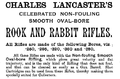 Charles Lancaster rook rabbit rifles 1892 advertisement.png