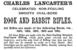 Rook rifle - An 1892 advertisement for rook and rabbit rifles by the Charles Lancaster company.