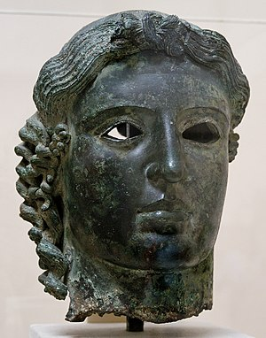 "Tamassos - Bronze ""Chatsworth Head"", probably of Apollo, c. 460 BC, found at Tamassos, 1836, and purchased by the Duke of Devonshire (British Museum)"