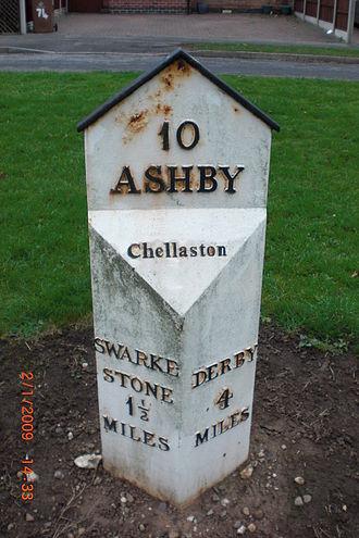 A514 road - A milestone on the A514 in Chellaston, Derby