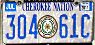 Vehicle registration plates of Native American tribes in the United States - Cherokee Nation of Oklahoma license plate