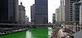Chicago River dyed green, buildings more prominent Cut Off.jpg