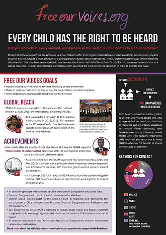 Child Helpline International - A description of successes of the Free Our Voices Campaign