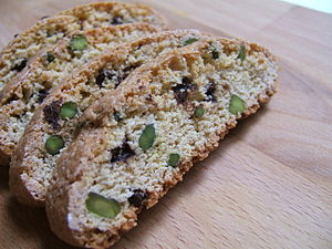 Biscotti - Chocolate and pistachio biscotti.