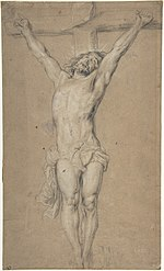 Christ on the Cross; verso- St. Jerome Reading by Candlelight, and Sketch of Male Torso (?) MET DP802373.jpg