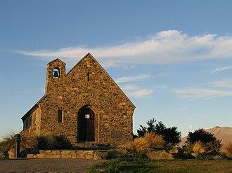 Lake Tekapo - Church of the Good Shepherd during a summer sunset in February