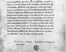 Das Ende von Ciceros vierter Rede gegen Catilina in einer von Poggio Bracciolini 1425 geschriebenen Handschrift: Florenz, Biblioteca Medicea Laurenziana, Plut. 48,22, fol. 121r (Quelle: Wikimedia)