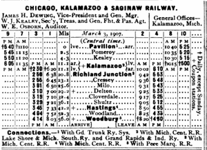 Chicago, Kalamazoo and Saginaw Railway - Image: Cks timetable 1908