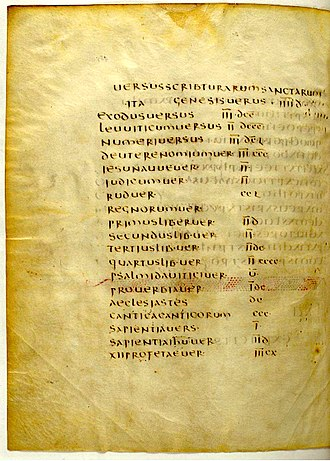 Stichometry - A List of Total Line Counts for Christian Texts: The title is 'Versus Scribturarum Sanctarum' or 'Lines of Holy Scriptures.' The second line says 'Genesis Versus IIIId' or 'Genesis Lines 4500.' The third line says 'Exodus Versus IIIdcc (= 3700). From the Codex Claromontanus (5th or 6th century CE), Leaf 467v, National Library, Paris, France.