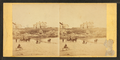 Coaches, horseback rider and people on the beach and houses in the distance, from Robert N. Dennis collection of stereoscopic views.png