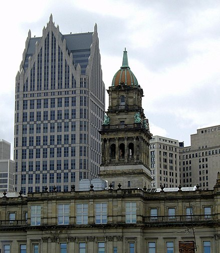 Wayne County Building (completed 1902) downtown by John and Arthur Scott, One Detroit Center (1993) in the back ComericaTowerdetroit3.jpg