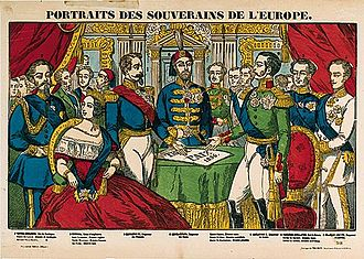 Treaty of Paris (1856) - Épinal print of the sovereigns of Europe during the Congress of Paris, 1856