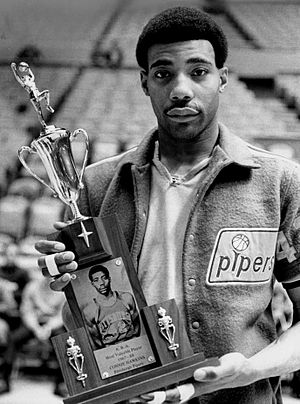 ABA Most Valuable Player Award - Connie Hawkins holding the 1968 ABA MVP Trophy