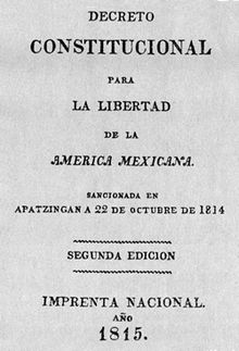 Original front of the Apatzingán Constitution