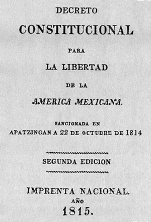 Constitution of Apatzingán - Original front of the Apatzingán Constitution
