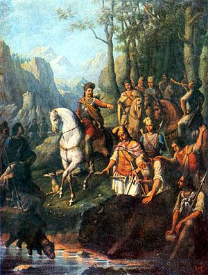 Founding of Moldavia - Voivode Dragoș's hunt for the bison (by Constantin Lecca)