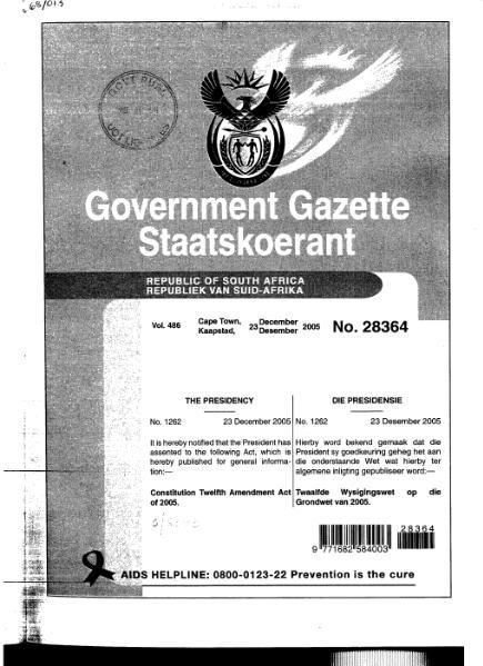 File:Constitution Twelfth Amendment Act of 2005 from Government Gazette.djvu