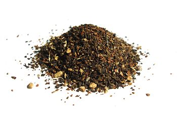 Chai tea, formerly in a tea bag; the leaves an...