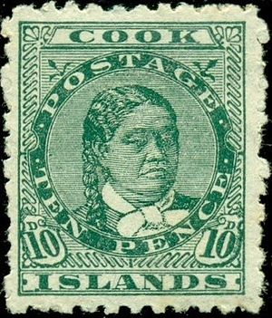 Postage stamps and postal history of the Cook Islands - An 1893 stamp of the Cook Islands showing Queen Makea.