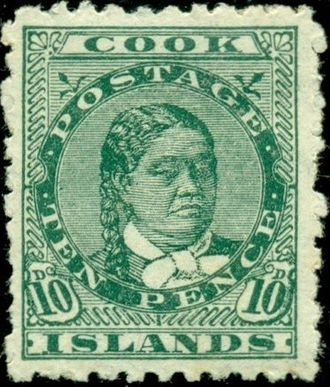Makea Takau Ariki - An 1893 stamp of the Cook Islands showing Queen Makea.