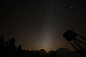 zodiacal light reflecting off dust in solar system