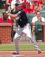 right-handed baseball player awaits a pitch at home plate with his left leg cocked to stride for a swing. The bat is over his right shoulder and he is wearing a blue jersey and dark batting helmet.
