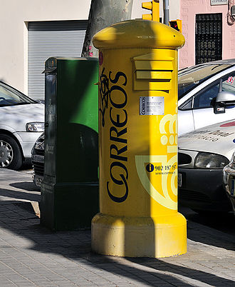 Correos - Typical format of Correos pillar boxes, found all over Spain