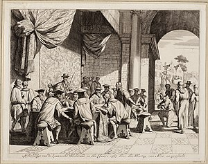 Council of Troubles - Another 1679 engraving depicting the Council of Troubles by Jan Luyken