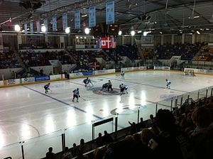 Coventry Blaze - Blaze face-off against the Belfast Giants at the SkyDome Arena in October 2011.