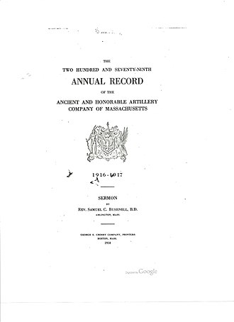 Ancient and Honorable Artillery Company of Massachusetts - 279th Annual Record of the AHAC published in 1918-showing the AHAC Coat of Arms and motto