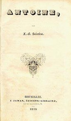 X. B. Saintine - Cover of Antoine, 1839