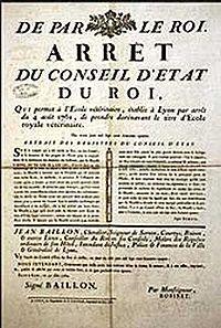 Arrêt de 1764 concernant l'école vétérinaire de Lyon