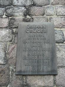 Gedenktafel für Johann Crüger, Sankt Nikolaikirche, Berlin-Mitte (Quelle: Wikimedia)