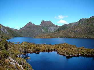 Cradle Mountain-Lake St Clair National Park - Cradle Mountain and Little Horn (to the left) by Dove Lake
