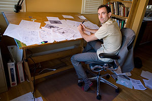 Craig Thompson - Thompson at his drawing table in 2009