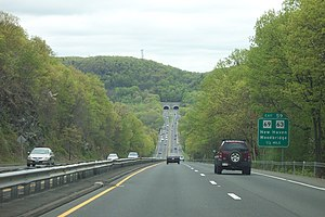 """Wilbur Cross Parkway - Traveling north toward Exit 59 and the West Rock Tunnel, dubbed """"Heroes Tunnel"""" by the Connecticut legislature in 2003"""