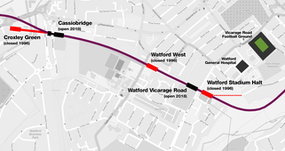 Railway line going west to east showing stations Croxley Green (terminus, closed), Cassiobridge (new), Watford West (closed), Watford Vicarage Road (new) and Watford Stadium Halt (closed)