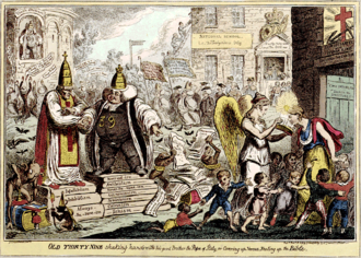 "Cover-up - Old Thirty Nine shaking hands with his good brother the Pope of Italy, or covering up versus sealing up the Bible, 1819 by George Cruikshank. (""39 articles"" refers to the Church of England)"