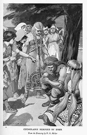 "Cú Chulainn - ""Cúchulainn rebuked by Emer"", illustration by H. R. Millar from Charles Squire, Celtic Myths and Legends, 1905"