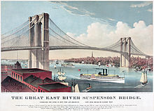 "Chromolithograph of the ""Great East River Suspension Bridge"" by Currier and Ives, created in 1883. The media depicts the Brooklyn Bridge when it was close to completion."