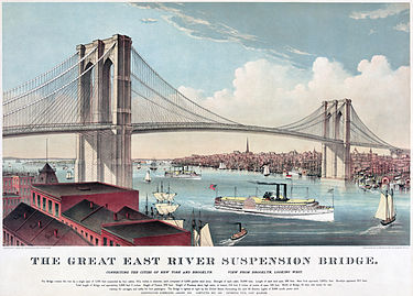 Brooklyn Bridge in 1883, by Currier and Ives Currier and Ives Brooklyn Bridge2.jpg
