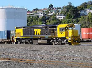 "Tranz Rail - DFT 7145 in Napier in Tranz Rail's ""bumble bee"" livery, in use 2001—2004."