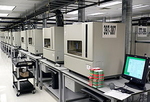 A row of DNA sequencing machines (3730xl DNA A...