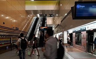Promenade MRT station - Platform D of Promenade MRT Station bound for Expo.
